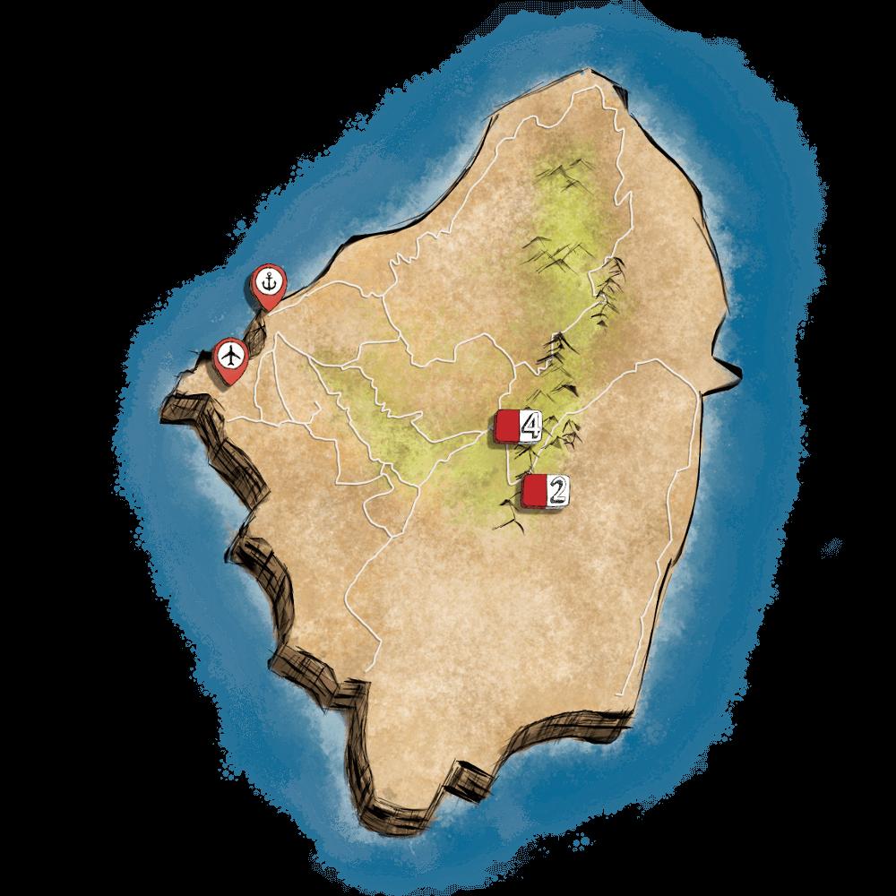 Χάρτης με όλα τα μονοπάτια πεζοπορίας της Νάξου