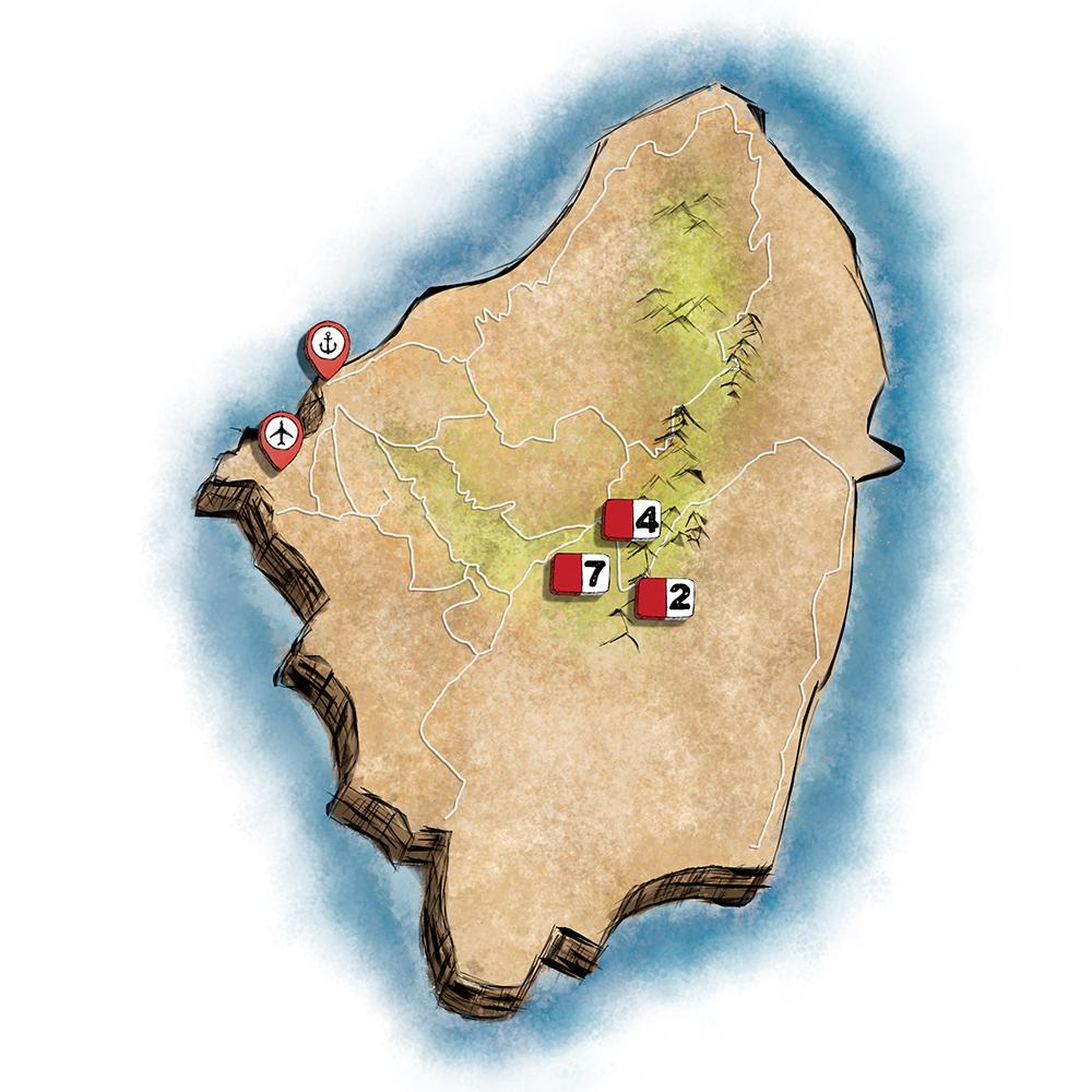 Πεζοπορία στην Νάξo: Κεντρικός χάρτης.